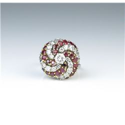 18CAI-19 DIAMOND  RUBY COCKTAIL RING