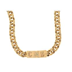 NECKLACE: [1] 14kt yellow gold fancy link necklace with diamond ID tag; ID tag set with (45) round b