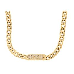 CHAIN: (1) 10KYG solid classic link chain, 29 1/2 inch, 13.2 mm width, hidden clasp w/name plate ''M