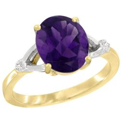 Natural 2.41 ctw Amethyst & Diamond Engagement Ring 10K Yellow Gold - REF-24X6A