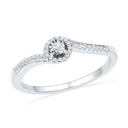0.16 CTW Diamond Solitaire Bridal Engagement Ring 10KT White Gold - REF-18N2F