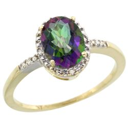 Natural 1.2 ctw Mystic-topaz & Diamond Engagement Ring 14K Yellow Gold - REF-23Z2Y