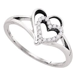 0.13 CTW Diamond Double Nested Heart Love Ring 10KT White Gold - REF-12Y2X