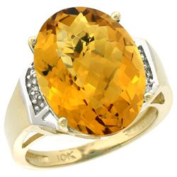 Natural 11.02 ctw Whisky-quartz & Diamond Engagement Ring 10K Yellow Gold - REF-44M7H