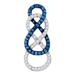 0.27 CTW Blue Color Diamond Linked Infinity Pendant 10KT Yellow Gold - REF-19M4H