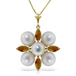 Genuine 6.3 ctw Citrine & Pearl Necklace Jewelry 14KT Yellow Gold - REF-59A2K