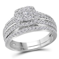 1 CTW Diamond Double Halo Bridal Engagement Ring 14KT White Gold - REF-104X9Y
