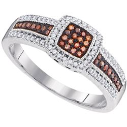 0.25 CTW Red Color Diamond Square Cluster Ring 10KT White Gold - REF-30H2M
