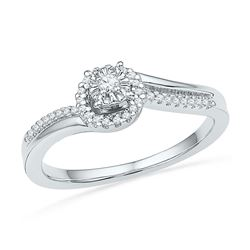 0.16 CTW Diamond Solitaire Halo Bridal Engagement Ring 10KT White Gold - REF-22K4W