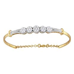 1 CTW Diamond Cluster Promise Bangle Bracelet 10KT Yellow Gold - REF-97Y4X