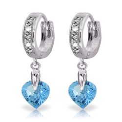 Genuine 1.77 ctw Blue Topaz & Diamond Earrings Jewelry 14KT White Gold - REF-35R2P