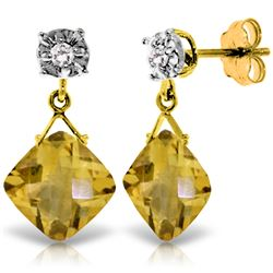 Genuine 17.56 ctw Citrine & Diamond Earrings Jewelry 14KT Yellow Gold - REF-48P3H