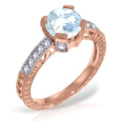 Genuine 1.80 ctw Aquamarine & Diamond Ring Jewelry 14KT Rose Gold - REF-102M4T