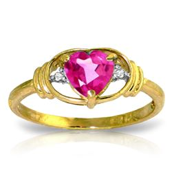 Genuine 0.96 ctw Pink Topaz & Diamond Ring Jewelry 14KT Yellow Gold - REF-40T5A
