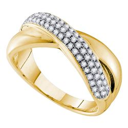 0.40 CTW Pave-set Diamond Crossover Ring 14KT Yellow Gold - REF-67M4H