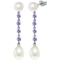 Genuine 11 ctw Pearl & Tanzanite Earrings Jewelry 14KT White Gold - REF-34F3Z