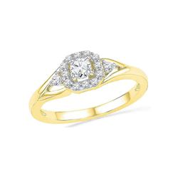 0.30 CTW Diamond Solitaire Bridal Engagement Ring 10KT Yellow Gold - REF-31W4K