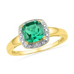 1.76 CTW Princess Created Emerald Solitaire Diamond Ring 10KT Yellow Gold - REF-13N4F