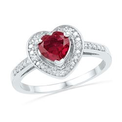 1.03 CTW Created Ruby Heart Love Ring 10KT White Gold - REF-18H2M
