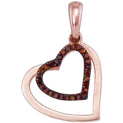 0.10 CTW Red Color Diamond Heart Love Pendant 10KT Rose Gold - REF-12N2F