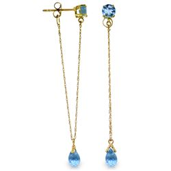 Genuine 3.15 ctw Blue Topaz Earrings Jewelry 14KT Yellow Gold - REF-22H3X
