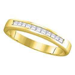 0.25 CTW Princess Channel-set Diamond Single Row Ring 14KT Yellow Gold - REF-32M9H