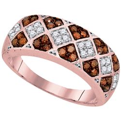 0.50 CTW Red Color Diamond Checkered Ring 10KT Rose Gold - REF-31Y4X