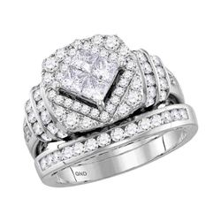 2.03 CTW Princess Diamond Bridal Engagement Ring 14KT White Gold - REF-194F9N