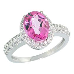 Natural 1.91 ctw Pink-topaz & Diamond Engagement Ring 14K White Gold - REF-41Z3Y