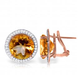 Genuine 12.4 ctw Citrine & Diamond Earrings Jewelry 14KT Rose Gold - REF-120M5T