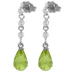 Genuine 3.3 ctw Peridot & Diamond Earrings Jewelry 14KT White Gold - REF-42R9P