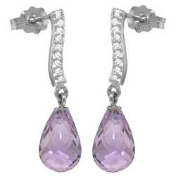 Genuine 4.78 ctw Amethyst & Diamond Earrings Jewelry 14KT White Gold - REF-46A2K