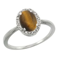 Natural 1.08 ctw Tiger-eye & Diamond Engagement Ring 14K White Gold - REF-25A6V