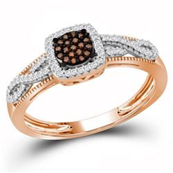 0.21 CTW Red Color Diamond Square Cluster Ring 10KT Rose Gold - REF-22X4Y