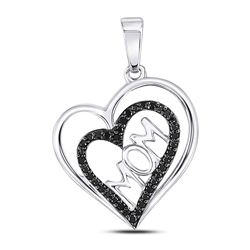 0.14 CTW Colored Black Diamond Pendant 10KT White Gold - REF-14H3N