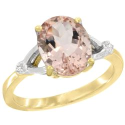 Natural 2.91 ctw Morganite & Diamond Engagement Ring 14K Yellow Gold - REF-58M2H