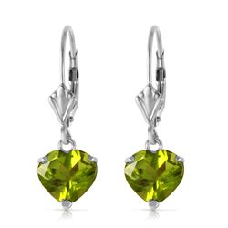 Genuine 3.25 ctw Peridot Earrings Jewelry 14KT White Gold - REF-29X2M
