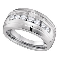 0.78 CTW Mens Channel-set Diamond Ridged Wedding Ring 10KT White Gold - REF-67F4N