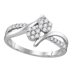 0.33 CTW Diamond Double Cluster Bridal Wedding Engagement Ring 14KT White Gold - REF-37K5W
