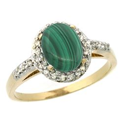 Natural 1.77 ctw Malachite & Diamond Engagement Ring 14K Yellow Gold - REF-30W9K