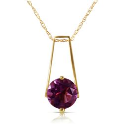 Genuine 1.45 ctw Amethyst Necklace Jewelry 14KT Yellow Gold - REF-23M8T