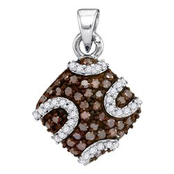 0.55 CTW Cognac-brown Color Diamond Diagonal Square Pendant 10KT White Gold - REF-22F4N