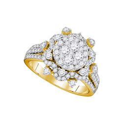 1.63 CTW Diamond Cluster Bridal Engagement Ring 14KT Yellow Gold - REF-191X9Y