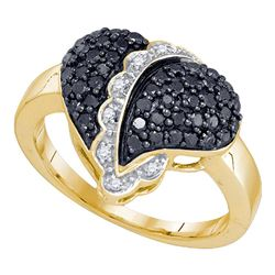 0.64 CTW Black Color Diamond Heart Cluster Ring 10KT Yellow Gold - REF-30Y2X