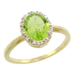 Natural 1.41 ctw Peridot & Diamond Engagement Ring 14K Yellow Gold - REF-27W5K