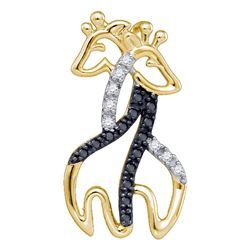 0.10 CTW Black Color Diamond Giraffe Animal Pendant 10KT Yellow Gold - REF-8W9K