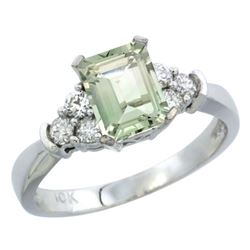 Natural 1.48 ctw green-amethyst & Diamond Engagement Ring 10K White Gold - REF-43Y3X