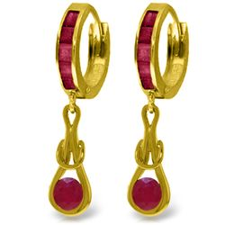 Genuine 2.6 ctw Ruby Earrings Jewelry 14KT Yellow Gold - REF-84Z3N