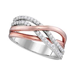 0.33 CTW Diamond Crossover Ring 10KT Two-tone Gold - REF-32M9H