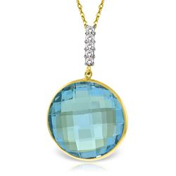 Genuine 23.08 ctw Blue Topaz & Diamond Necklace Jewelry 14KT Yellow Gold - REF-71F8Z